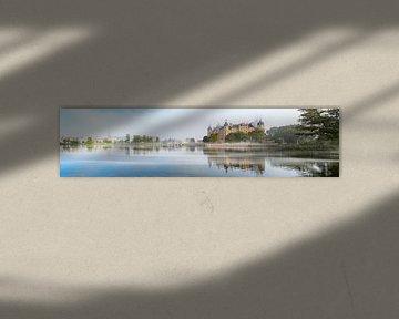 Schwerin panorama van het kasteel, de brug en de stad met reflectie in het meer en de ochtendmist, k van Maren Winter