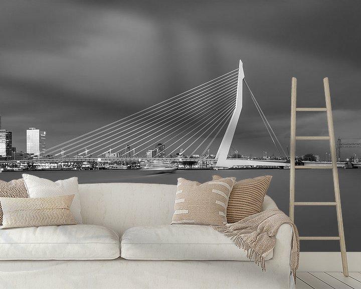 Impression: La ligne d'horizon de Rotterdam en noir et blanc sur Miranda van Hulst