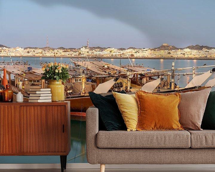 Sfeerimpressie behang: Dhows op Masirah Eiland Oman van Jeroen Kleiberg