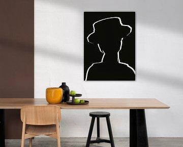 Abstrakte Linienzeichnung Frau mit Hut von Maurice Dawson
