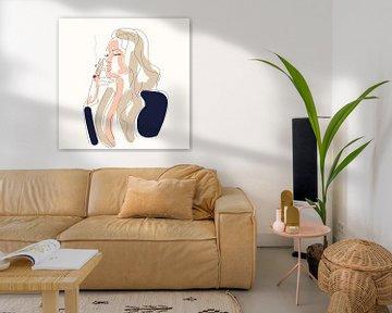 Rokende vrouw (lijn-kunst) van Nine Revius