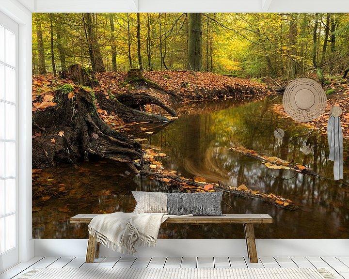 Sfeerimpressie behang: Leuvenumse Beek in herfstkleuren van Raoul Baart