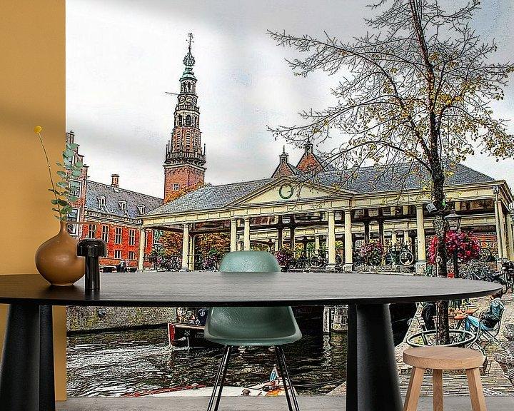 Sfeerimpressie behang: Koornbrug Leiden met stadhuis op de achtergrond van Hendrik-Jan Kornelis