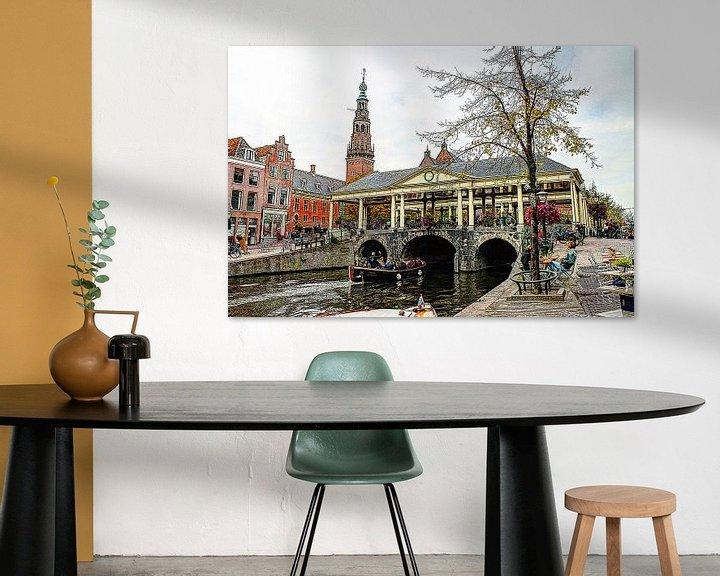 Sfeerimpressie: Koornbrug Leiden met stadhuis op de achtergrond van Hendrik-Jan Kornelis