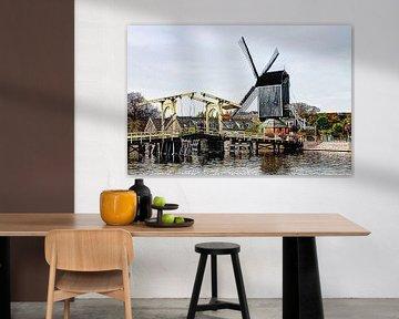 Rembrandt Brücke mit Windmühle De Put Leiden Niederlande von Hendrik-Jan Kornelis