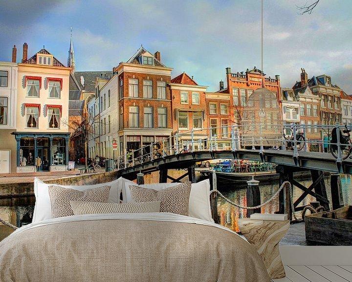 Sfeerimpressie behang: Oude Rijn Leiden Nederland van Hendrik-Jan Kornelis