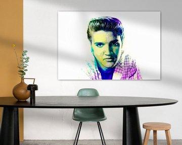 Elvis Presley Abstraktes Pop-Art-Portrait in Grün Blau Rosa von Art By Dominic