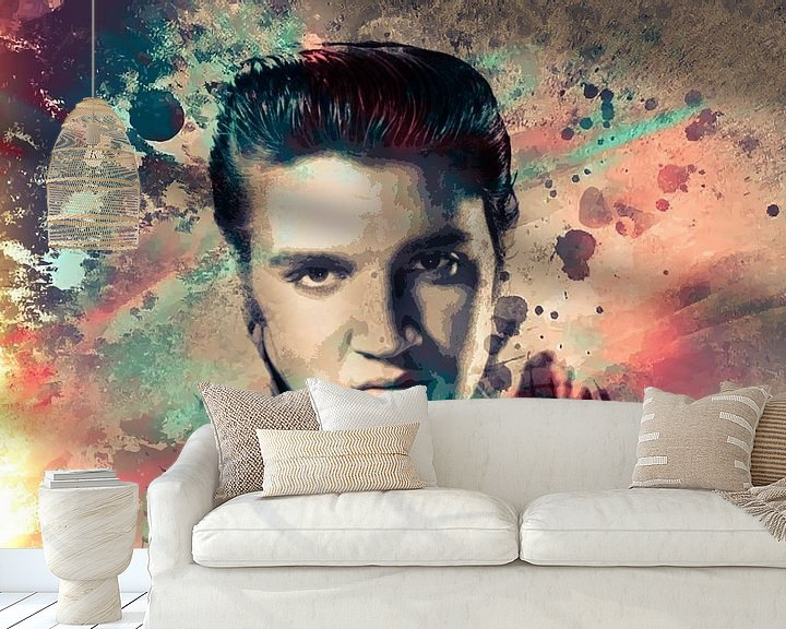Beispiel fototapete: Elvis Presley Abstraktes Pop-Art-Portrait in Vintage-Farben von Art By Dominic