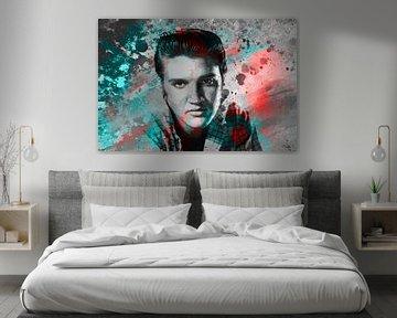 Elvis Presley Abstraktes Pop-Art-Portrait in Rot-Blau-Grau von Art By Dominic