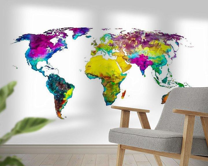 Impression: Carte du monde en couleurs tropicales   Cercle mural sur Wereldkaarten.Shop