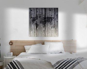 Weltkarte auf Holzbohlen | Wandkreis von Wereldkaarten.Shop