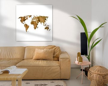 Wereldkaart van Espresso koffie | Wandcirkel van Wereldkaarten.Shop