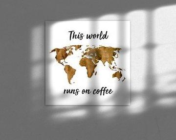 Weltkarte von Espresso | Zitat | Wandkreis von Wereldkaarten.Shop