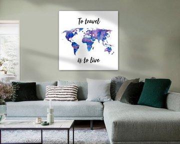 Weltkarte in Aquarell | Lila und Blau | Zitat | Wandkreis von Wereldkaarten.Shop