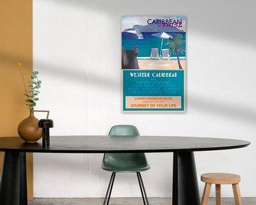 Western Caribbean Cruise Retro Travel Poster II van Markus Bleichner