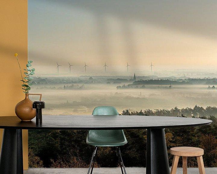 Sfeerimpressie behang: Zonsopgang zicht op een mistige ochtend in Montferland van Jeroen Kleiberg