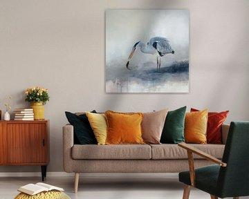 Abstrakte Aquarellmalerei mit Vogel in Blau und Beige von Diana van Tankeren