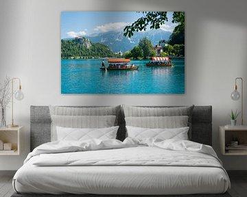 Boote auf dem See Bled in Slowenien