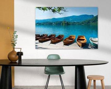 Roeiboten aan het meer van Bled
