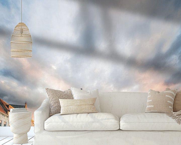Sfeerimpressie behang: Zonsondergang Havermarkt te Breda van Joris Bax