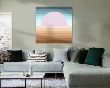 Abstract zonsondergang in terracotta blauw en roze van Maurice Dawson
