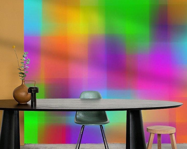 Sfeerimpressie behang: Kleurblokken van Wim Beunk