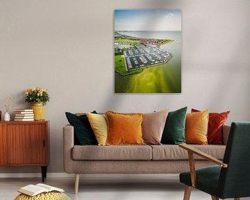 Photo aérienne de la ville frisonne de Hindeloopen