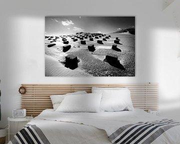 Dünenlandschaft mit Seedeich (schwarz-weiß) von Rob Blok