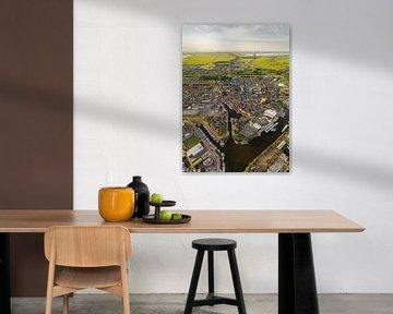 Luftaufnahme des friesischen Dorfes Lemmer