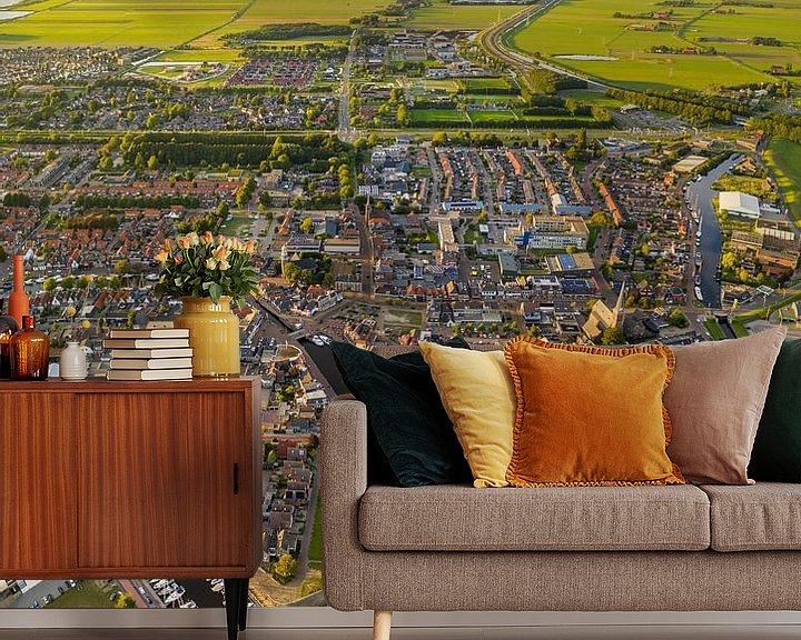 Sfeerimpressie behang: Luchtfoto van het Friese dorp Lemmer van Bert Nijholt