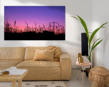 Roze/paarse zonsondergang bij korenveld en hoogspanningsmast van Noud de Greef