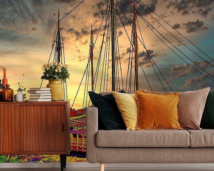 Beispiel fototapete: Segelschiff am Kai in Hoorn von Digital Art Nederland