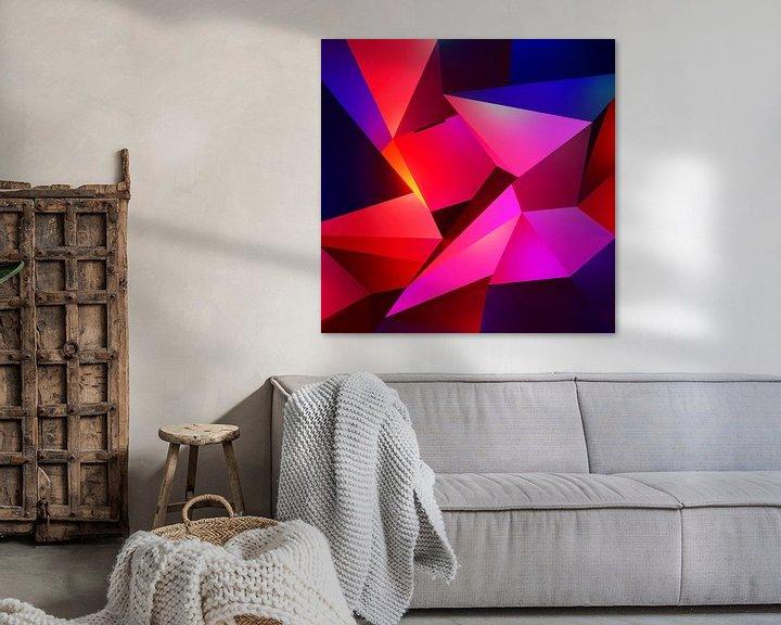 Sfeerimpressie: Modern abstract schilderij met uil in de nacht van Pat Bloom - Moderne 3D, abstracte kubistische en futurisme kunst