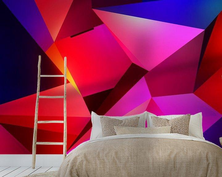 Sfeerimpressie behang: Modern abstract schilderij met uil in de nacht van Pat Bloom - Moderne 3D, abstracte kubistische en futurisme kunst