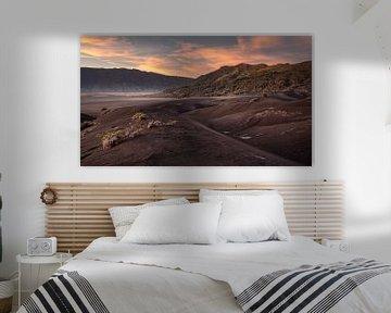 Een mooie uitkijk op de zandvlakte van Bromo tijdens een kleurvolle zonsopkomst van Anges van der Logt