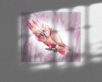 Rosa Kakadu-Aquarell von Bianca Wisseloo