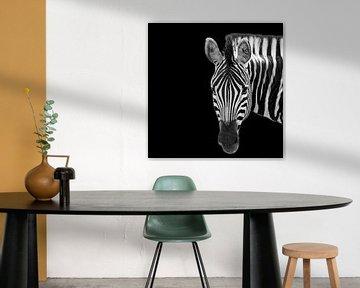 Portret van een Zebra in zwart-wit van Beeldpracht by Maaike