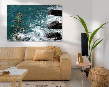 Droogbloem voor azuurblauwe zee met rotsen en schuim van Bianca ter Riet