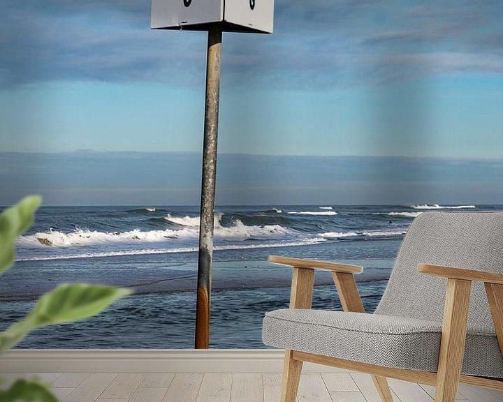 Beispiel fototapete: Schild mit dem Bild eines Sonnenschirms am Strand von Petten von Wim Stolwerk