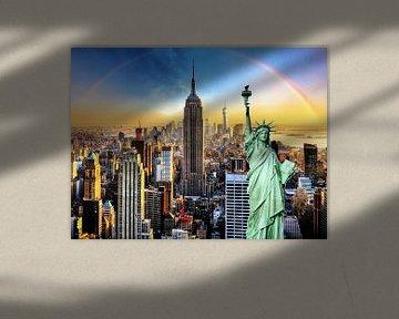 New York City mit Freiheitsstatue von Thomas Zacharias