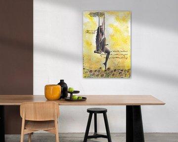 Schwingen in einem Sonnenblumenfeld von Nora Bland