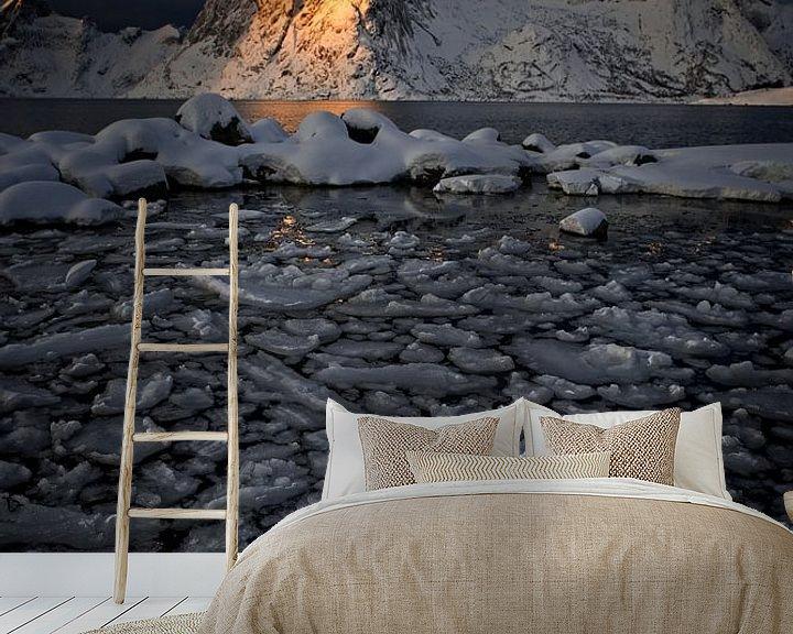 Sfeerimpressie behang: Spitse bergen op de Lofoten van Dirk-Jan Steehouwer
