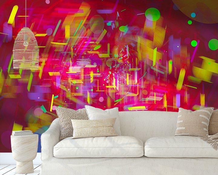 Sfeerimpressie behang: Nacht in de dynamische stad met regen in abstracte digitale stijl van Pat Bloom - Moderne 3D, abstracte kubistische en futurisme kunst