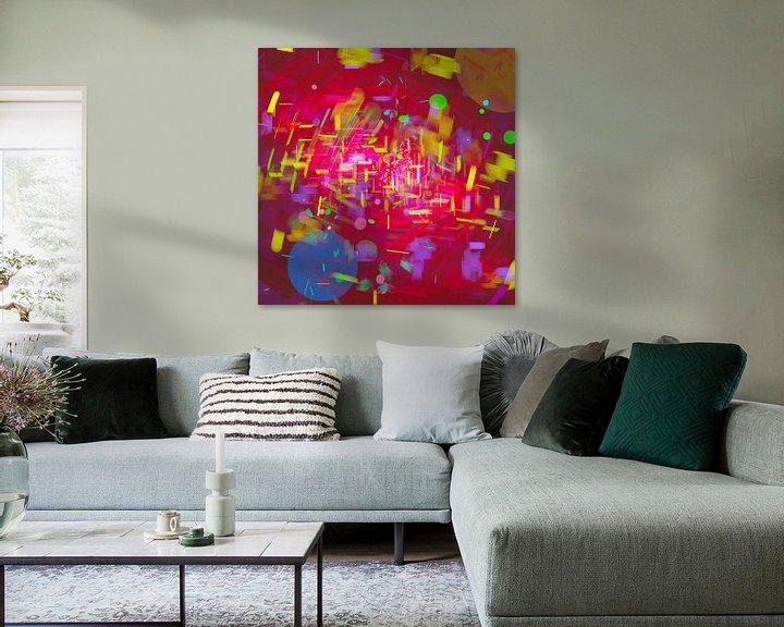 Sfeerimpressie: Nacht in de dynamische stad met regen in abstracte digitale stijl van Pat Bloom - Moderne 3D, abstracte kubistische en futurisme kunst