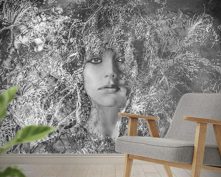 Sfeerimpressie behang: Modern Nostalgisch portret van Marijke de Leeuw - Gabriëlse