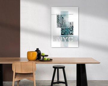 Poster Art NYC Fifth Avenue Traffic | Marmeren turkoois van Melanie Viola