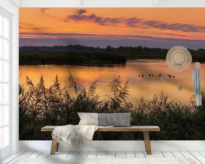 Sfeerimpressie behang: Avond in Groningen Panorama van Marga Vroom