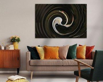 Verdraaide witte knobbel zwaan ronde vorm abstracte kunst van Bobsphotography