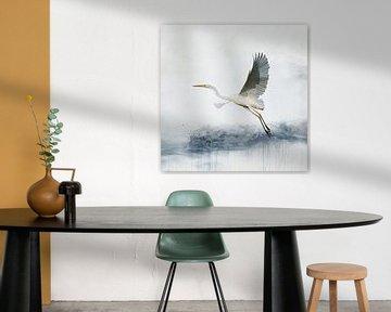 Aquarellmalerei mit Blaureiher von Diana van Tankeren