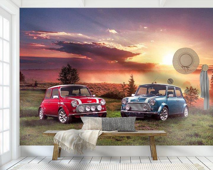 Sfeerimpressie behang: Classic Mini Cooper S bij zonsopkomst van Thomas Boudewijn